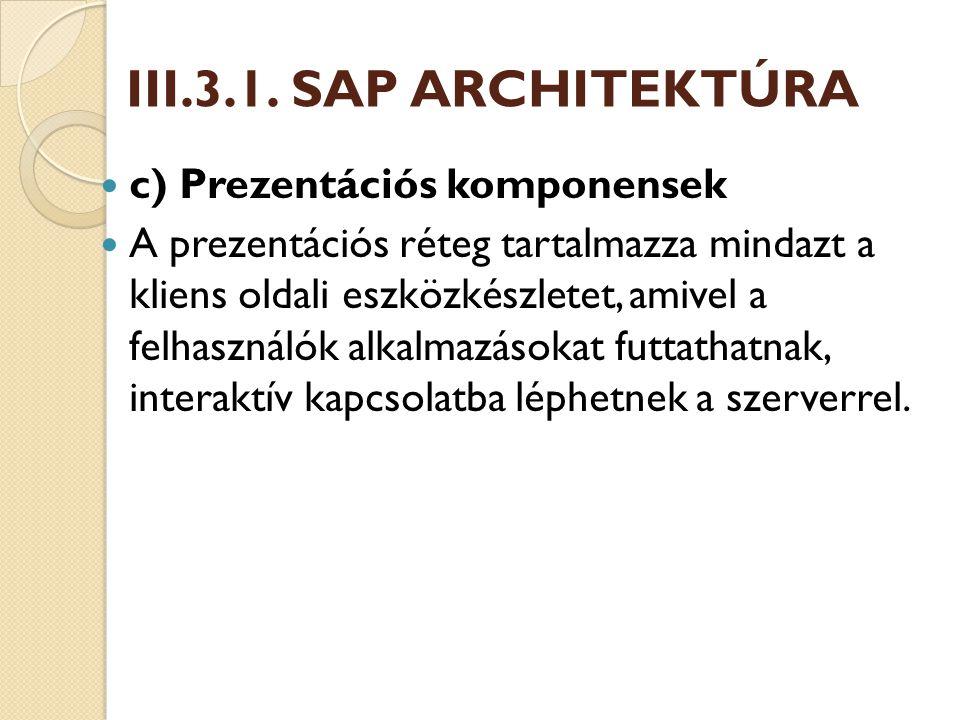 III.3.1. SAP ARCHITEKTÚRA c) Prezentációs komponensek