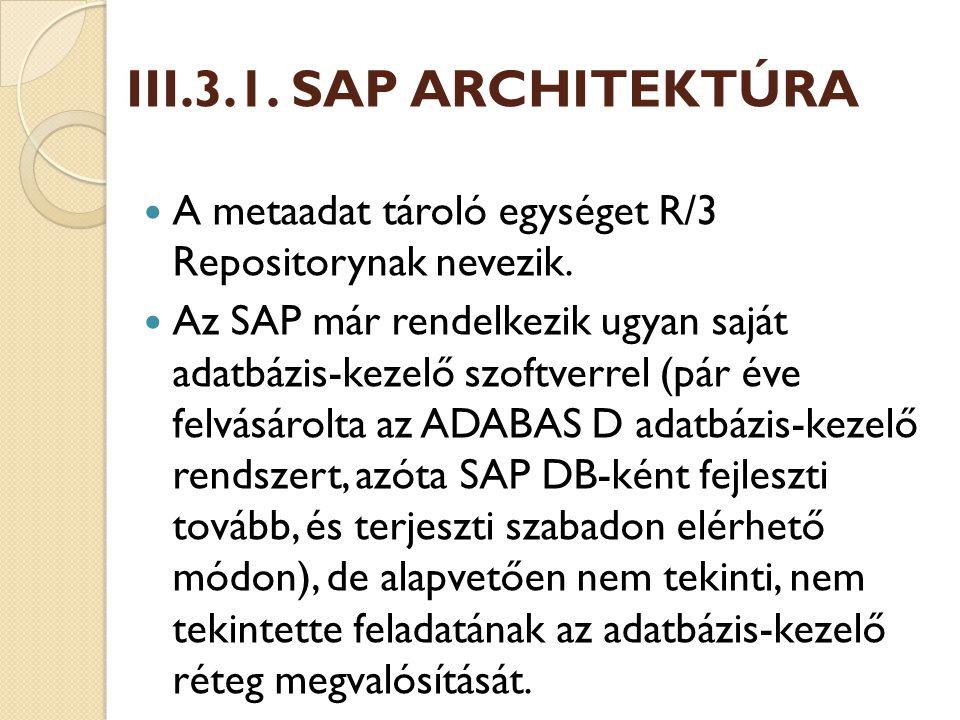 III.3.1. SAP ARCHITEKTÚRA A metaadat tároló egységet R/3 Repositorynak nevezik.