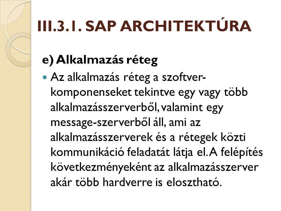 III.3.1. SAP ARCHITEKTÚRA e) Alkalmazás réteg