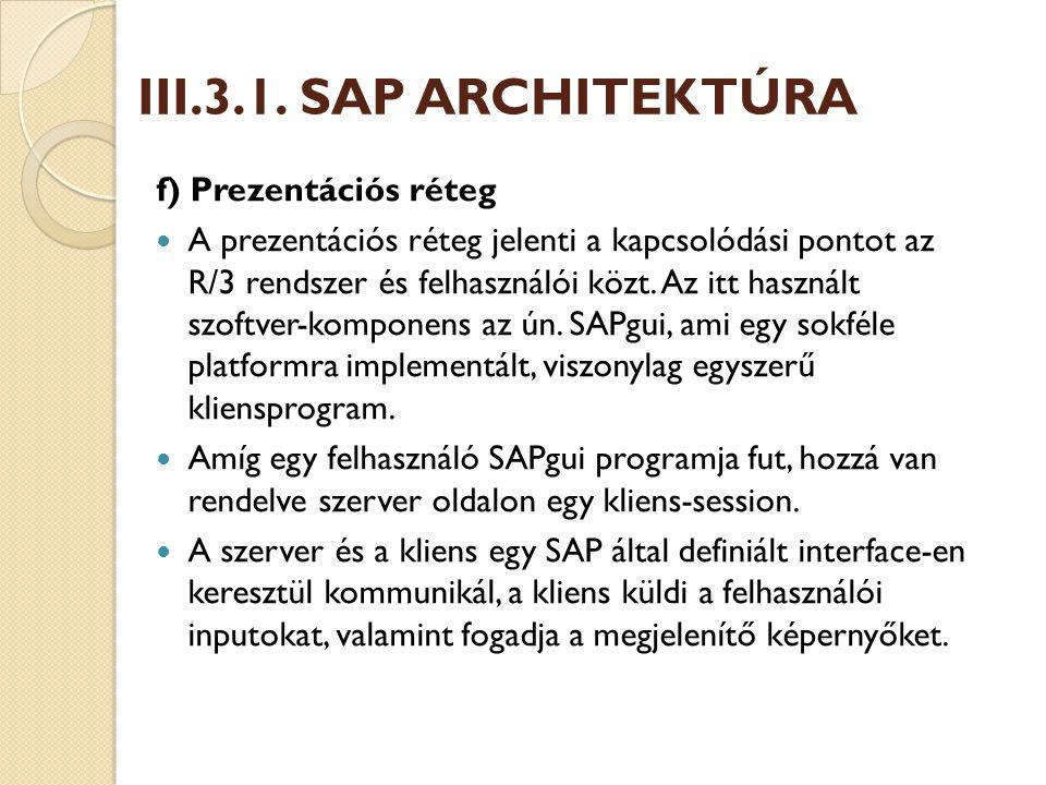 III.3.1. SAP ARCHITEKTÚRA f) Prezentációs réteg