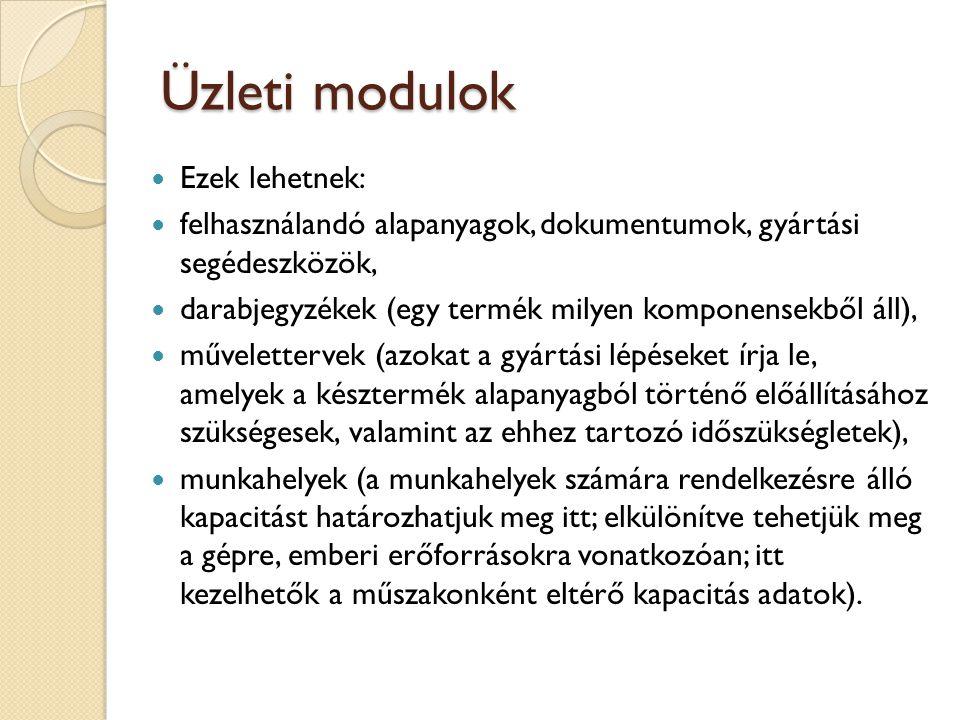 Üzleti modulok Ezek lehetnek: