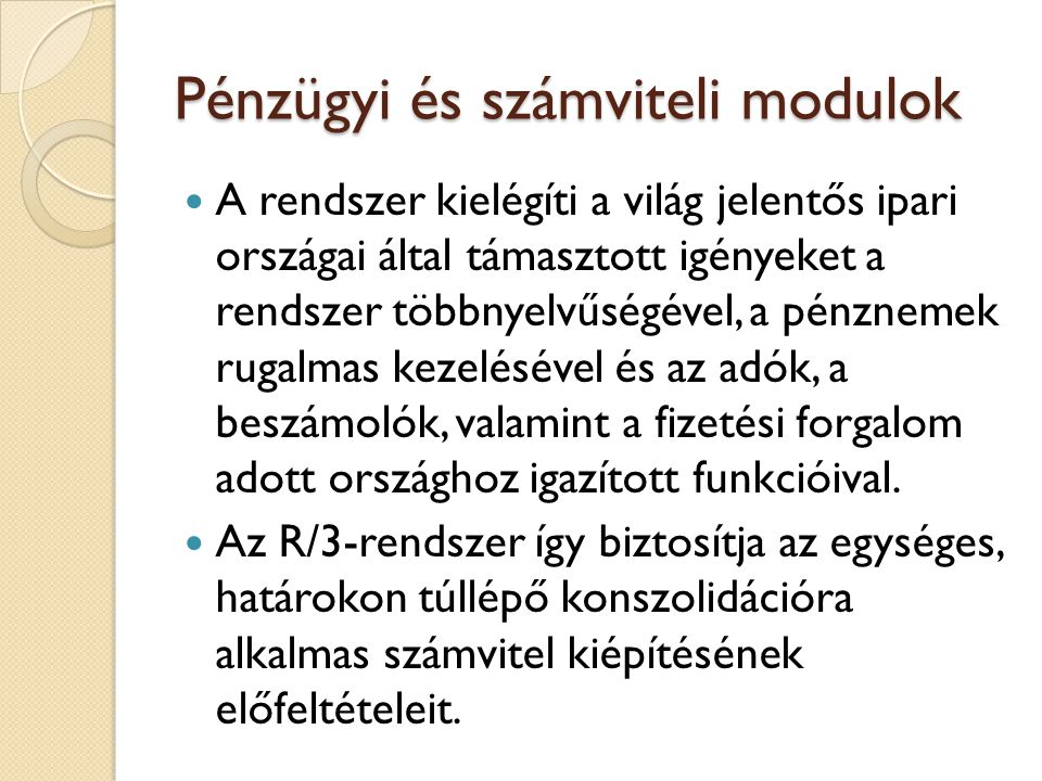 Pénzügyi és számviteli modulok