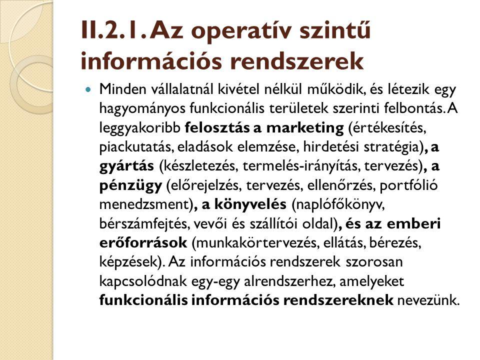 II.2.1. Az operatív szintű információs rendszerek