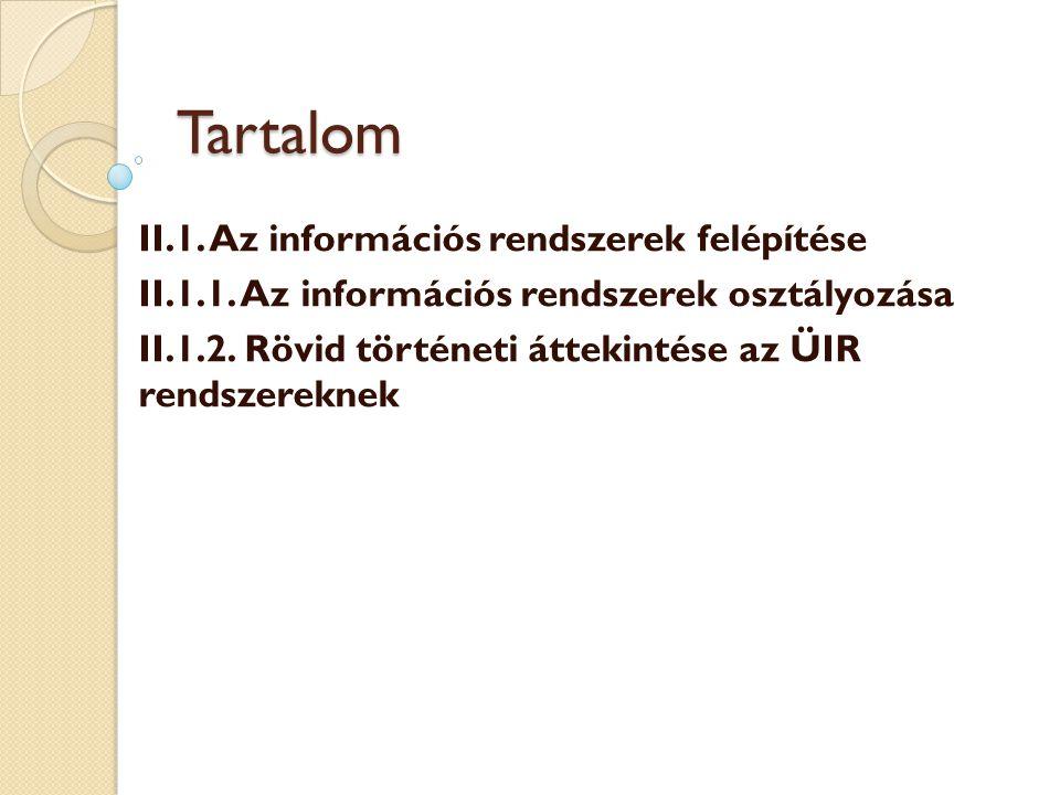 Tartalom II.1. Az információs rendszerek felépítése