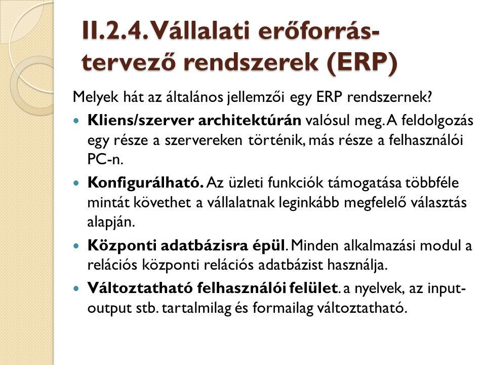 II.2.4. Vállalati erőforrás-tervező rendszerek (ERP)