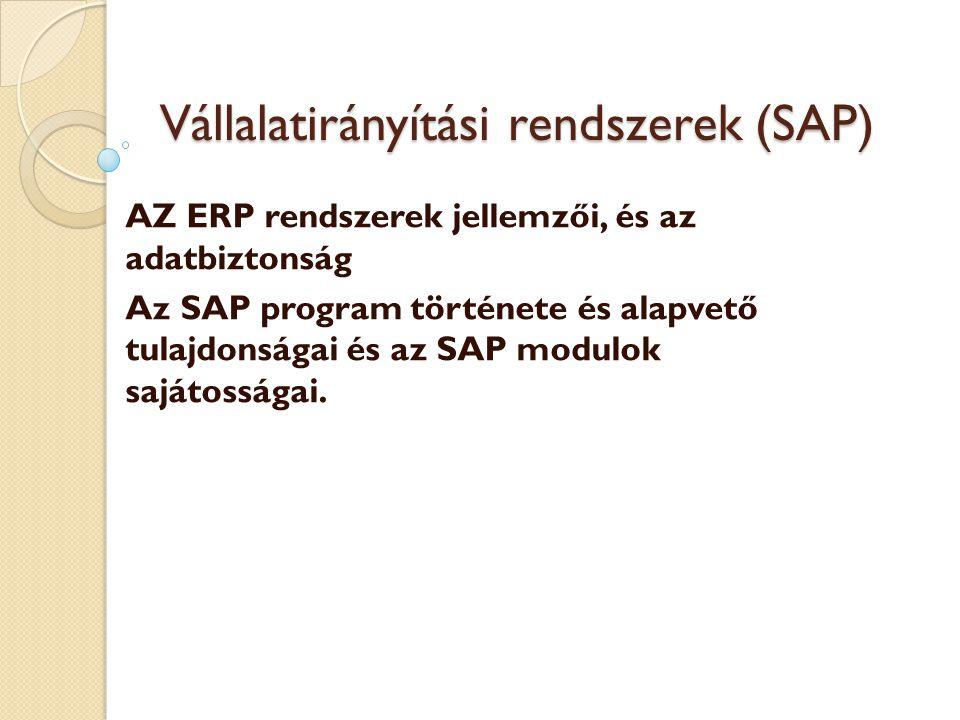 Vállalatirányítási rendszerek (SAP)