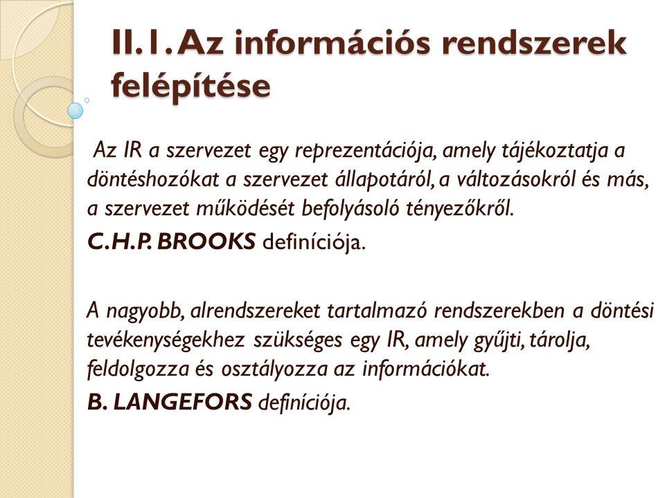 II.1. Az információs rendszerek felépítése