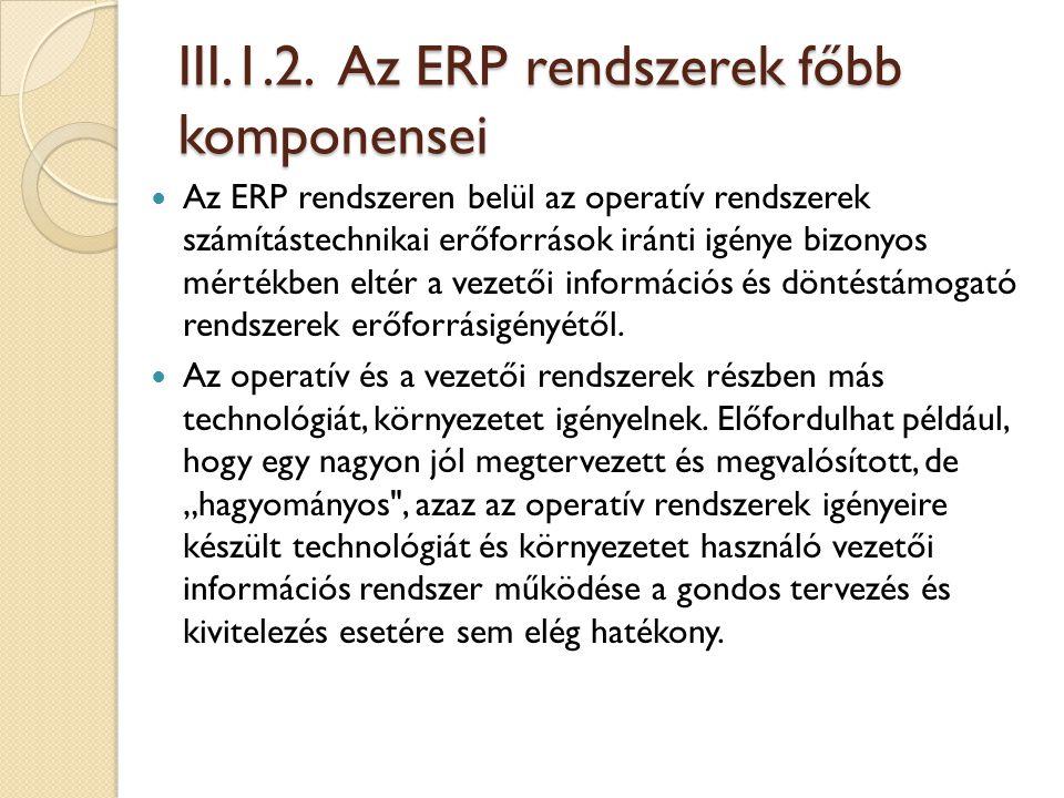 III.1.2. Az ERP rendszerek főbb komponensei