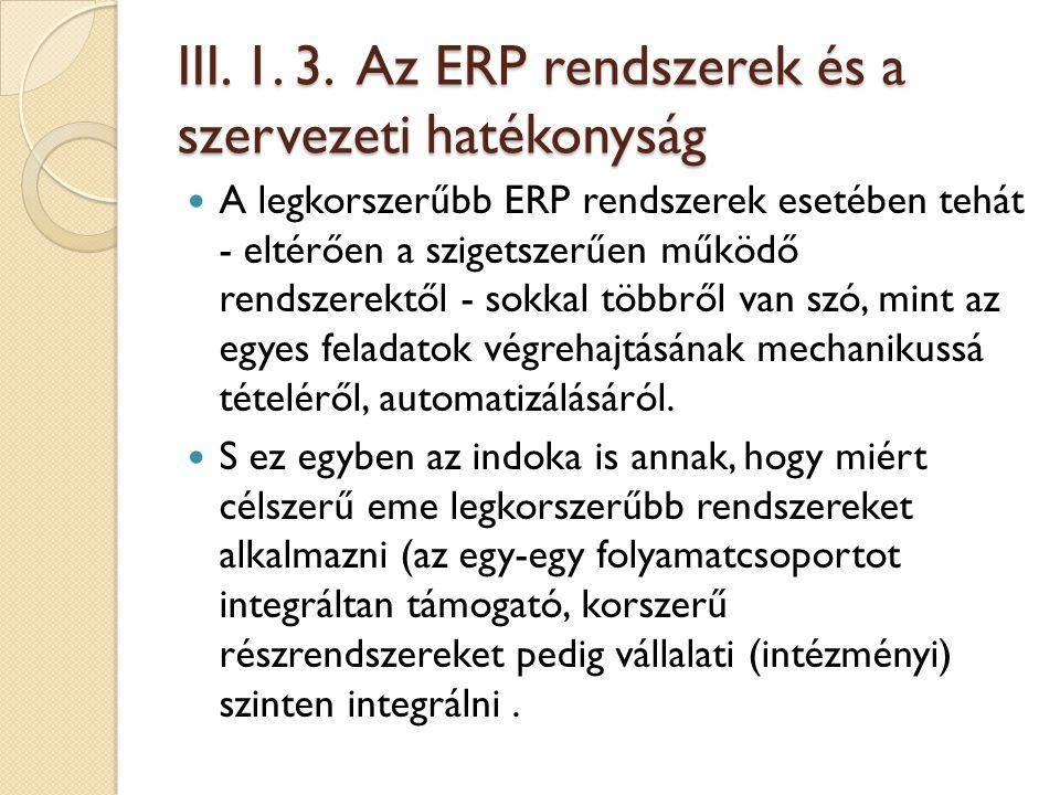 III. 1. 3. Az ERP rendszerek és a szervezeti hatékonyság