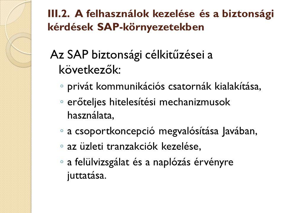 Az SAP biztonsági célkitűzései a következők: