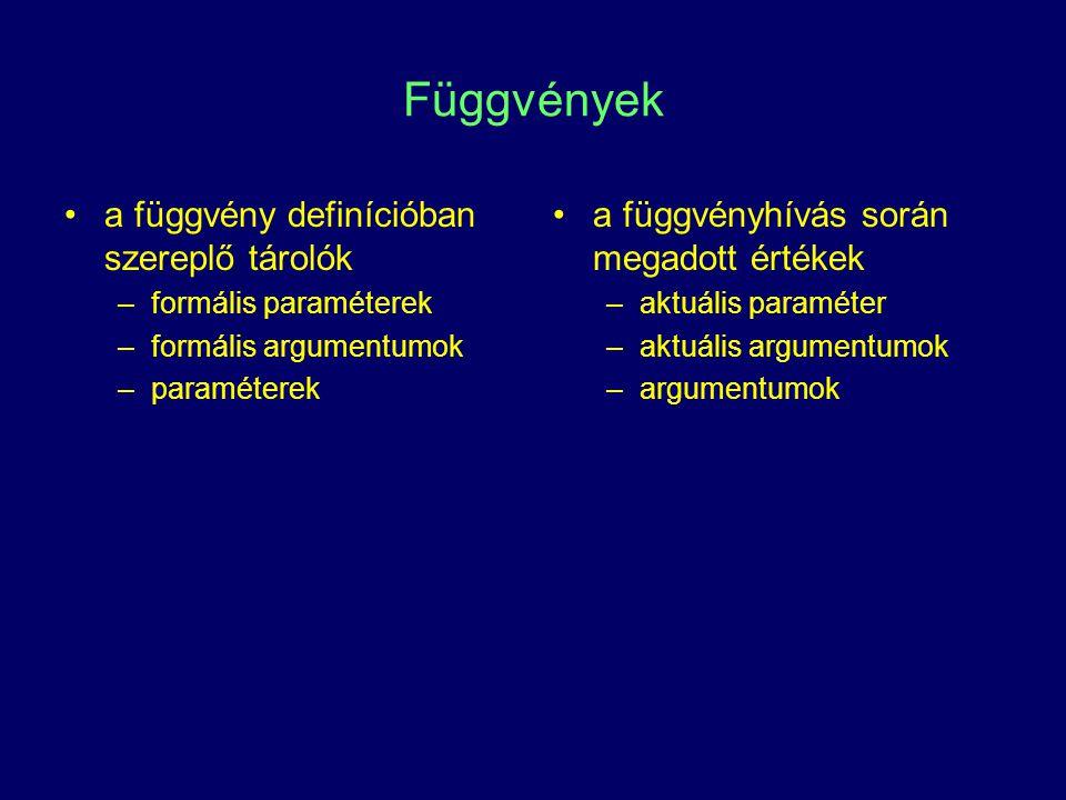 Függvények a függvény definícióban szereplő tárolók