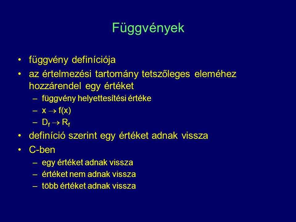 Függvények függvény definíciója