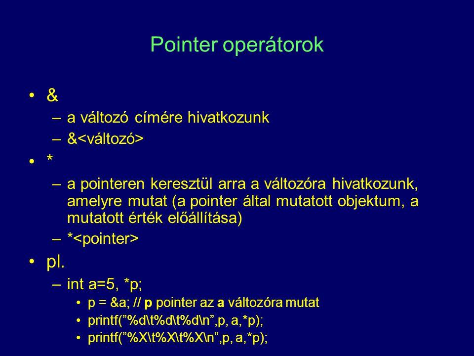 Pointer operátorok & * pl. a változó címére hivatkozunk