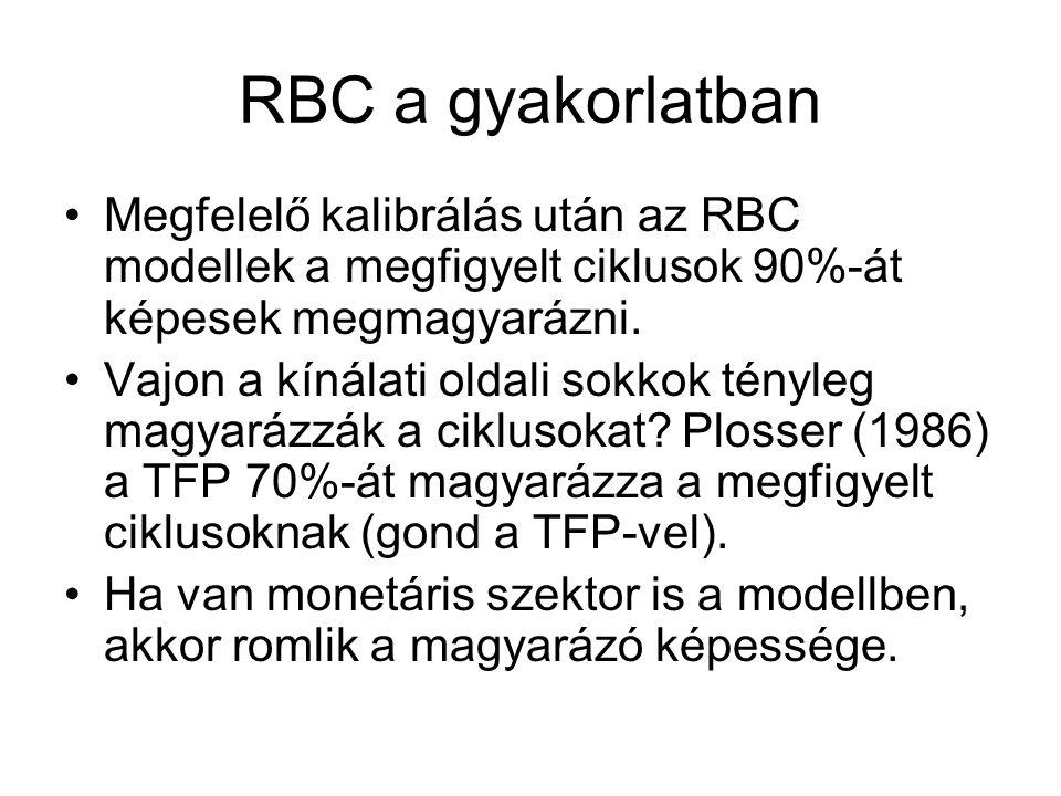 RBC a gyakorlatban Megfelelő kalibrálás után az RBC modellek a megfigyelt ciklusok 90%-át képesek megmagyarázni.