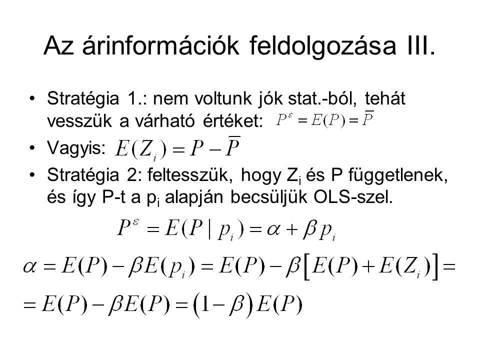 Az árinformációk feldolgozása III.