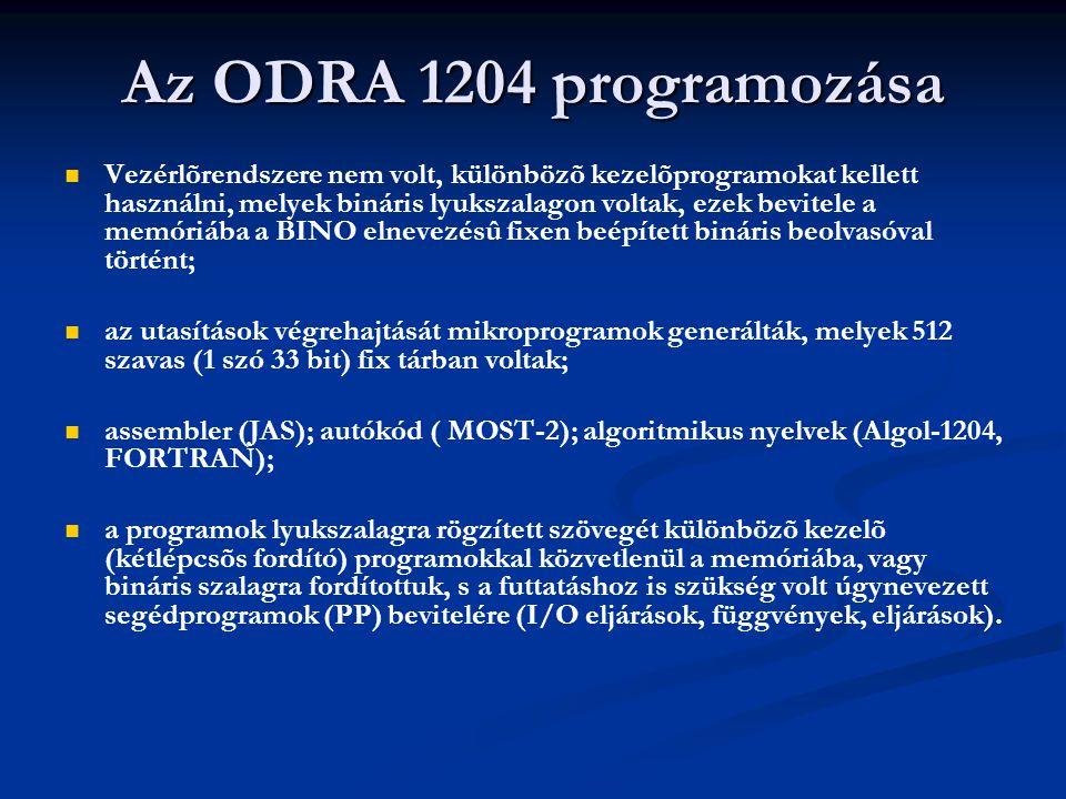 Az ODRA 1204 programozása