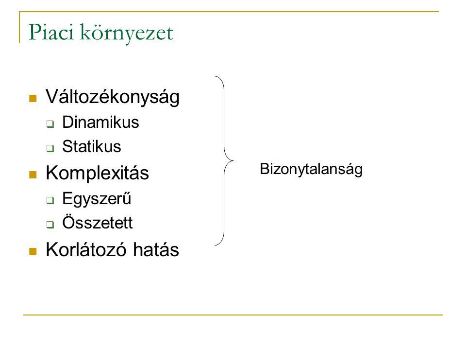 Piaci környezet Változékonyság Komplexitás Korlátozó hatás Dinamikus