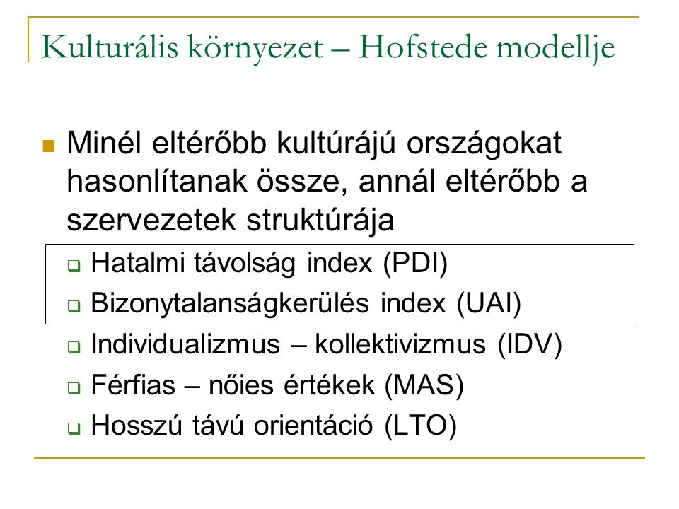 Kulturális környezet – Hofstede modellje
