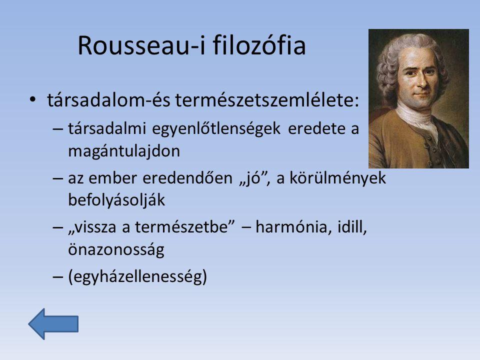 Rousseau-i filozófia társadalom-és természetszemlélete: