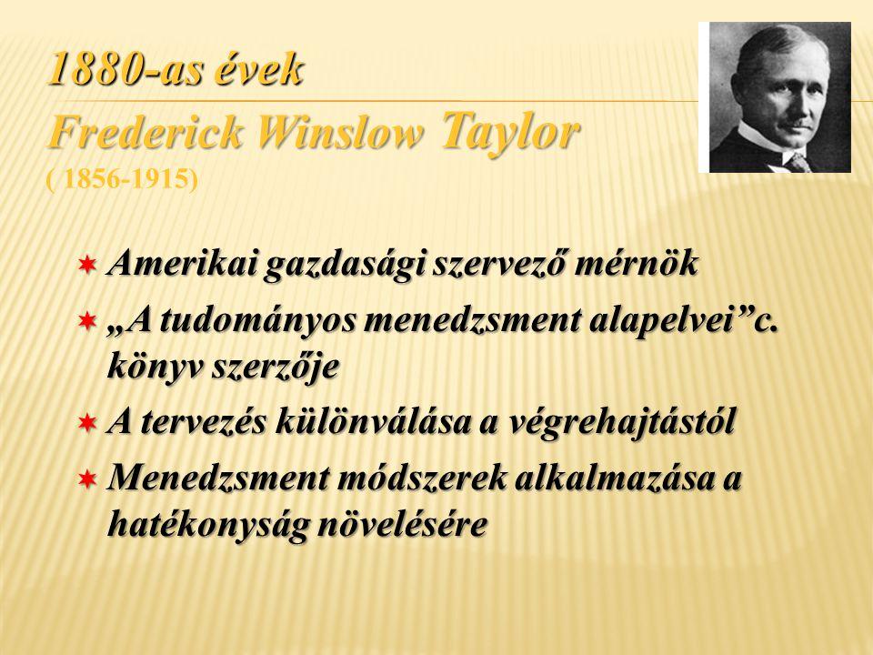 1880-as évek Frederick Winslow Taylor ( 1856-1915)