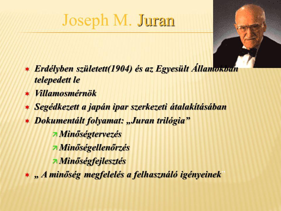 Joseph M. Juran Erdélyben született(1904) és az Egyesült Államokban telepedett le. Villamosmérnök.