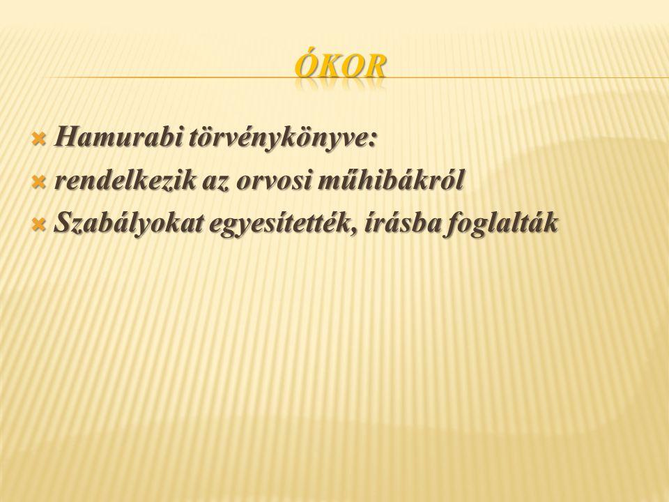 Ókor Hamurabi törvénykönyve: rendelkezik az orvosi műhibákról