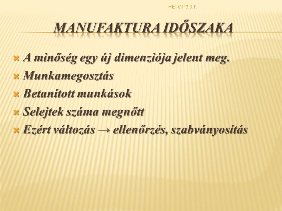 Manufaktura időszaka A minőség egy új dimenziója jelent meg.