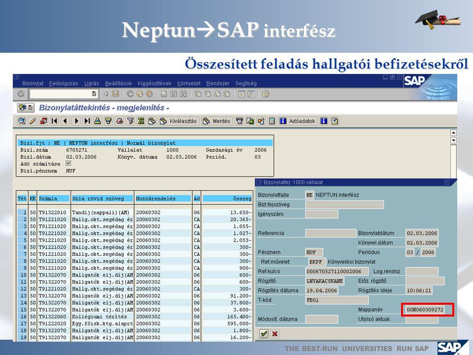NeptunSAP interfész Összesített feladás hallgatói befizetésekről
