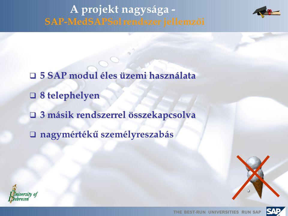 A projekt nagysága - SAP-MedSAPSol rendszer jellemzői