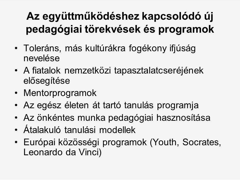 Az együttműködéshez kapcsolódó új pedagógiai törekvések és programok