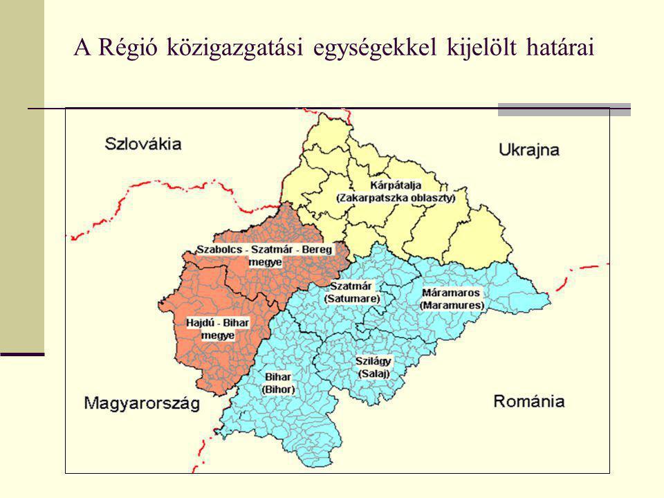 A Régió közigazgatási egységekkel kijelölt határai