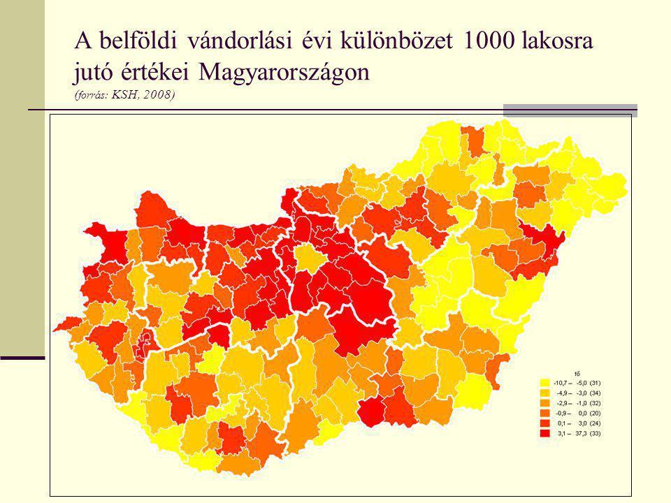 A belföldi vándorlási évi különbözet 1000 lakosra jutó értékei Magyarországon (forrás: KSH, 2008)