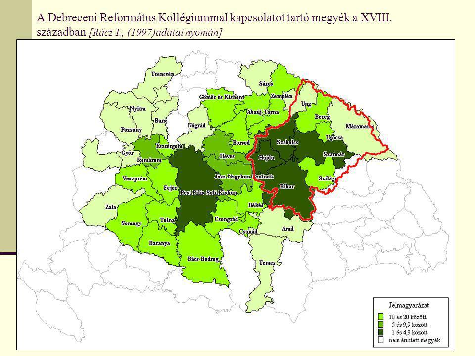 A Debreceni Református Kollégiummal kapcsolatot tartó megyék a XVIII