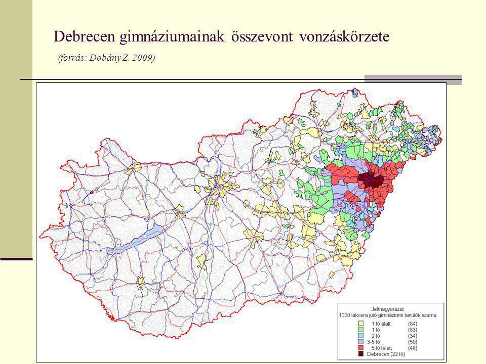Debrecen gimnáziumainak összevont vonzáskörzete (forrás: Dobány Z