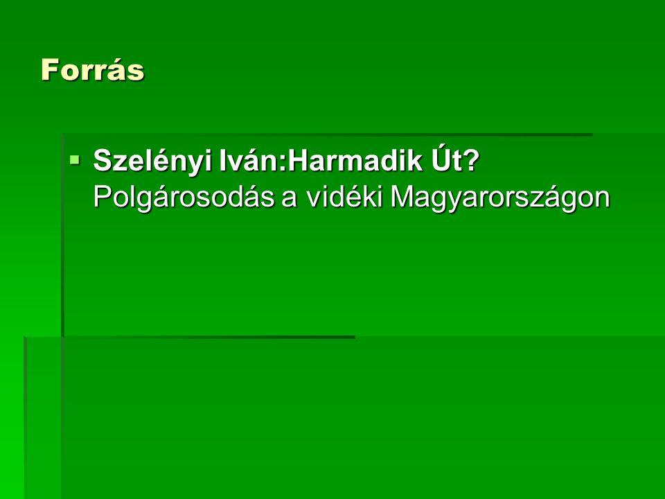 Forrás Szelényi Iván:Harmadik Út Polgárosodás a vidéki Magyarországon