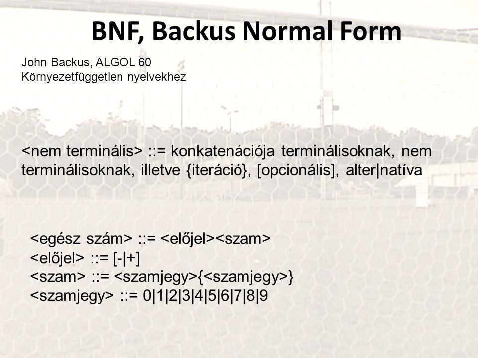 BNF, Backus Normal Form John Backus, ALGOL 60. Környezetfüggetlen nyelvekhez.