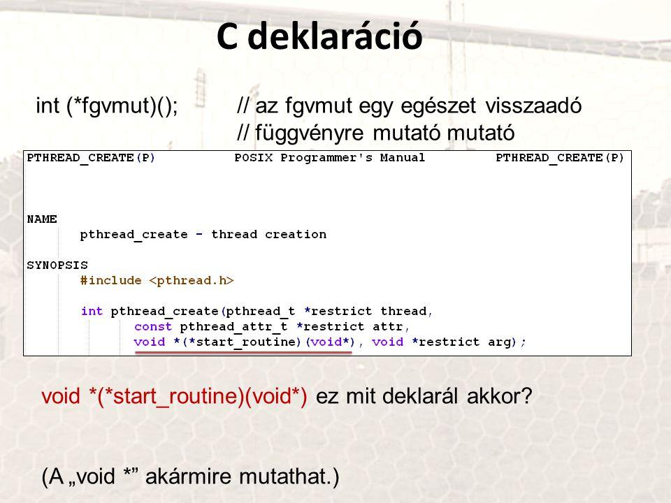 C deklaráció int (*fgvmut)(); // az fgvmut egy egészet visszaadó // függvényre mutató mutató.