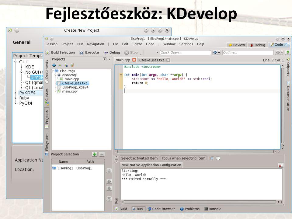 Fejlesztőeszköz: KDevelop