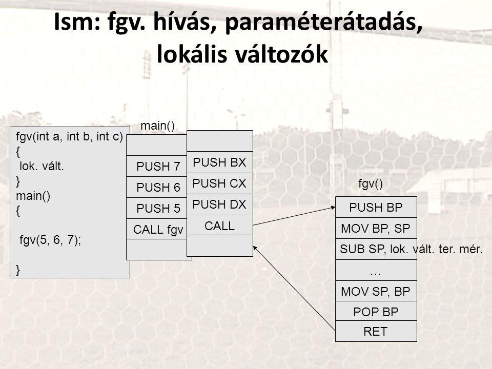 Ism: fgv. hívás, paraméterátadás, lokális változók