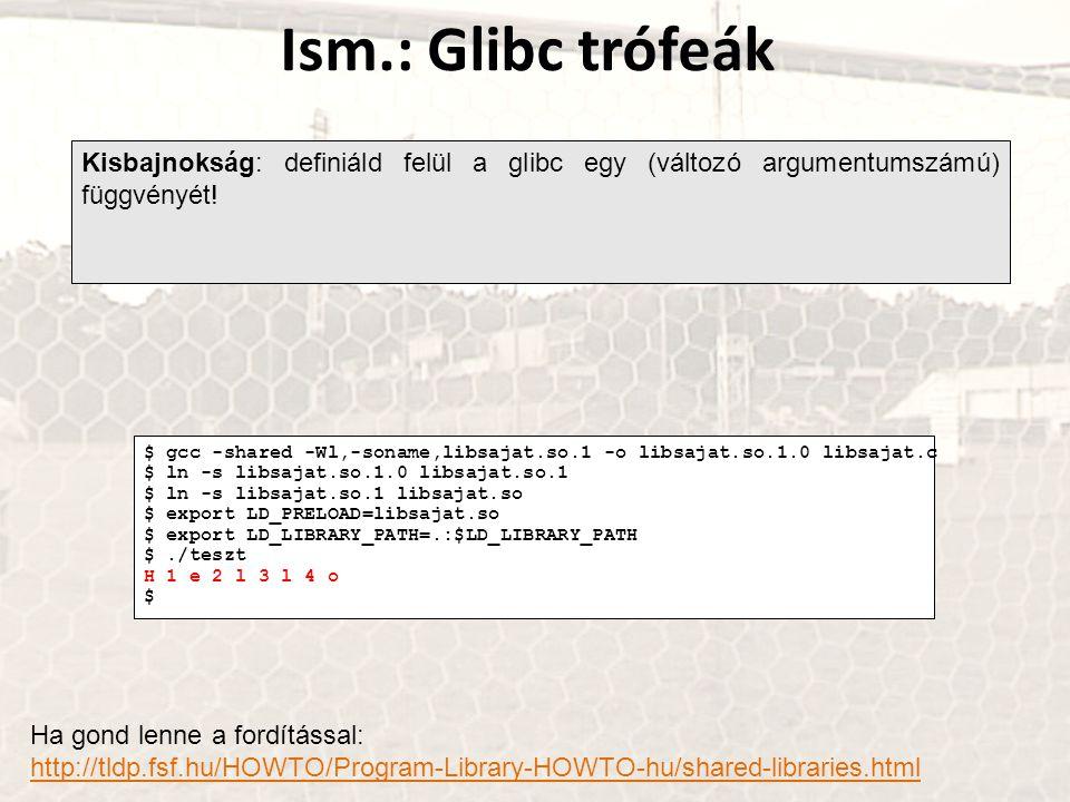 Ism.: Glibc trófeák Kisbajnokság: definiáld felül a glibc egy (változó argumentumszámú) függvényét!