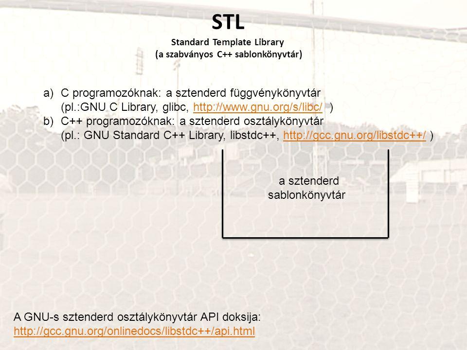 STL Standard Template Library (a szabványos C++ sablonkönyvtár)