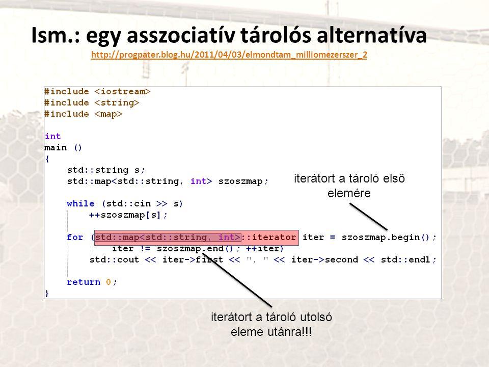 Ism. : egy asszociatív tárolós alternatíva http://progpater. blog