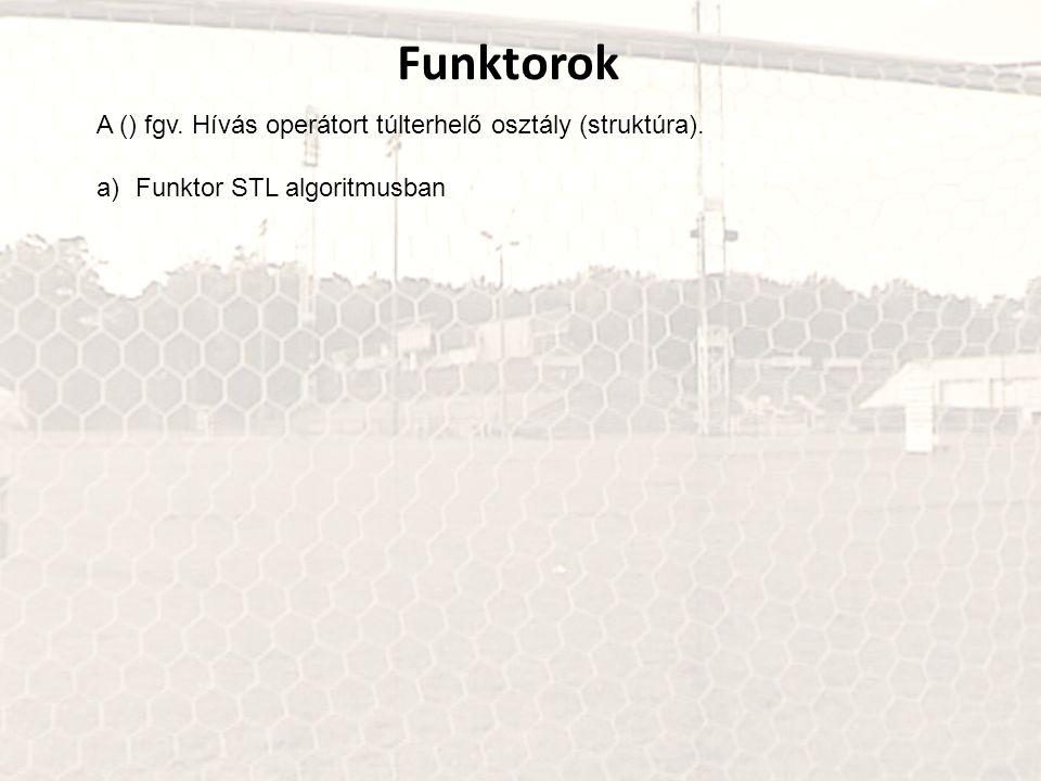 Funktorok A () fgv. Hívás operátort túlterhelő osztály (struktúra).