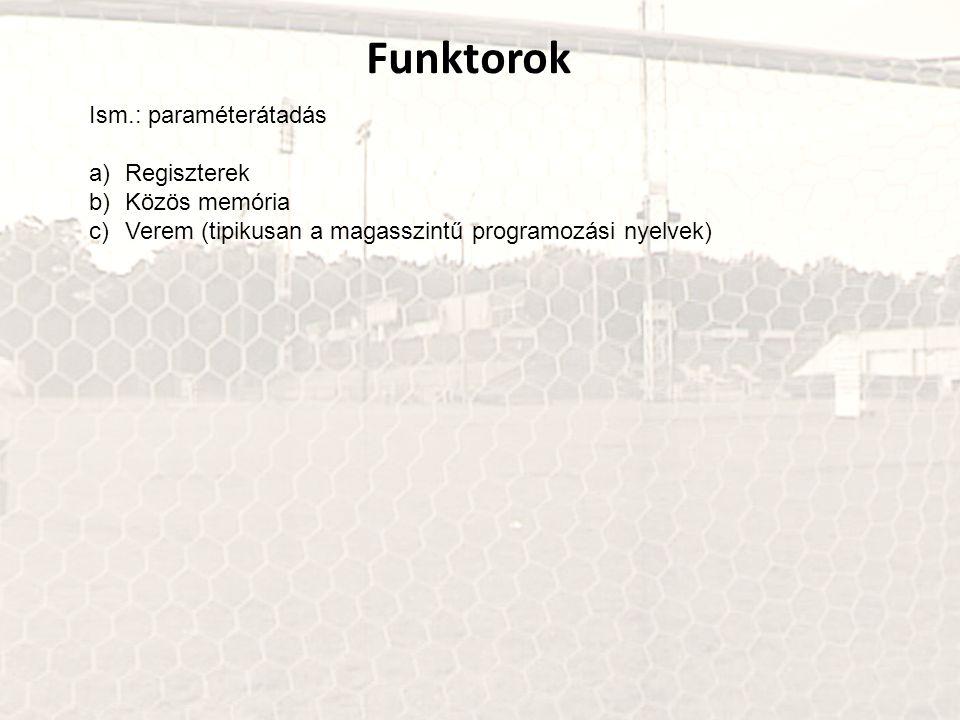 Funktorok Ism.: paraméterátadás Regiszterek Közös memória