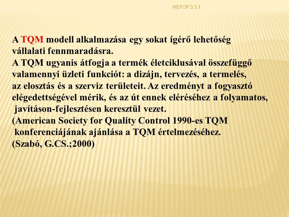 A TQM modell alkalmazása egy sokat ígérő lehetőség