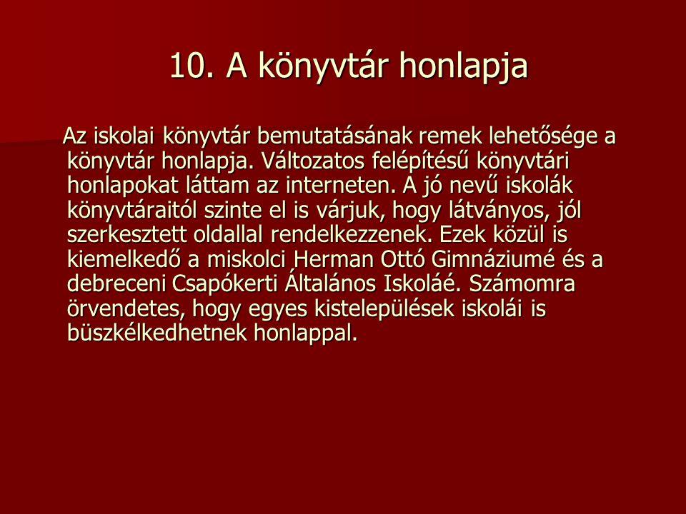 10. A könyvtár honlapja