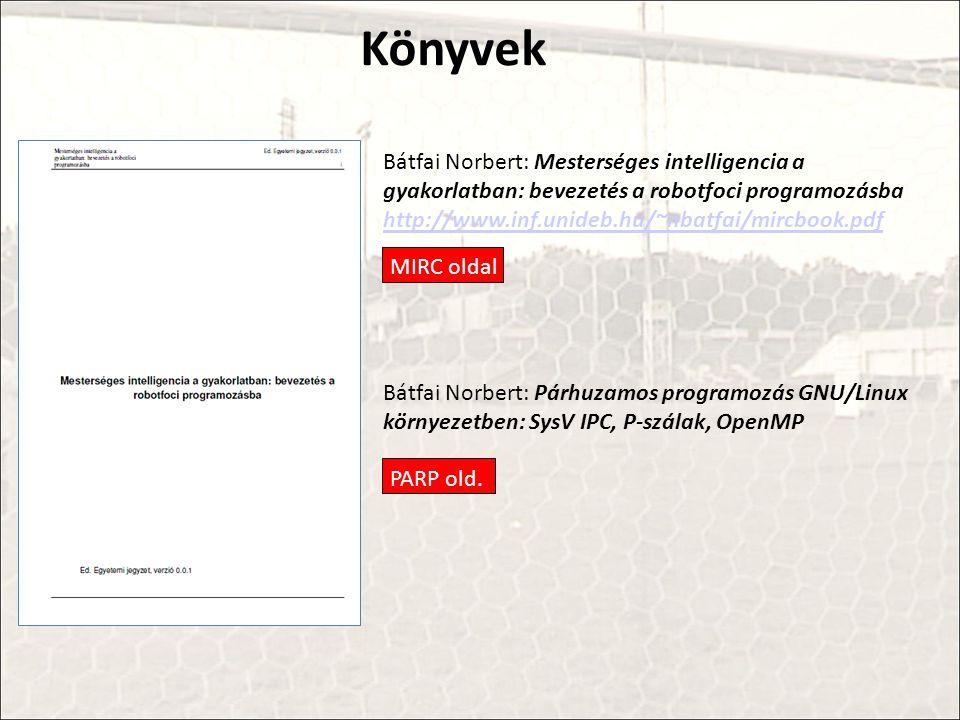 Könyvek Bátfai Norbert: Mesterséges intelligencia a gyakorlatban: bevezetés a robotfoci programozásba http://www.inf.unideb.hu/~nbatfai/mircbook.pdf.