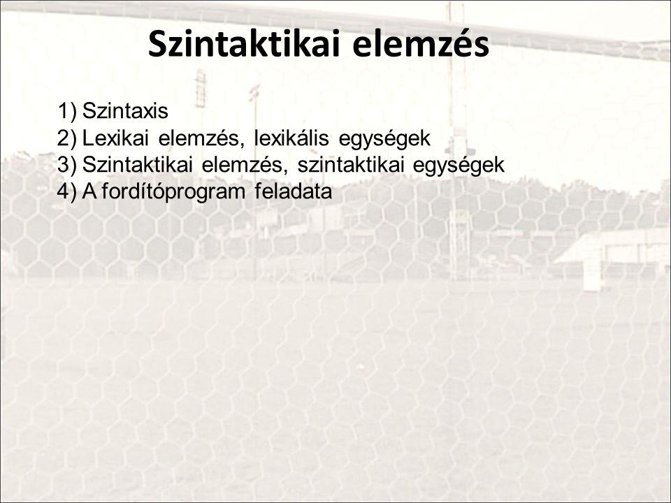 Szintaktikai elemzés Szintaxis Lexikai elemzés, lexikális egységek