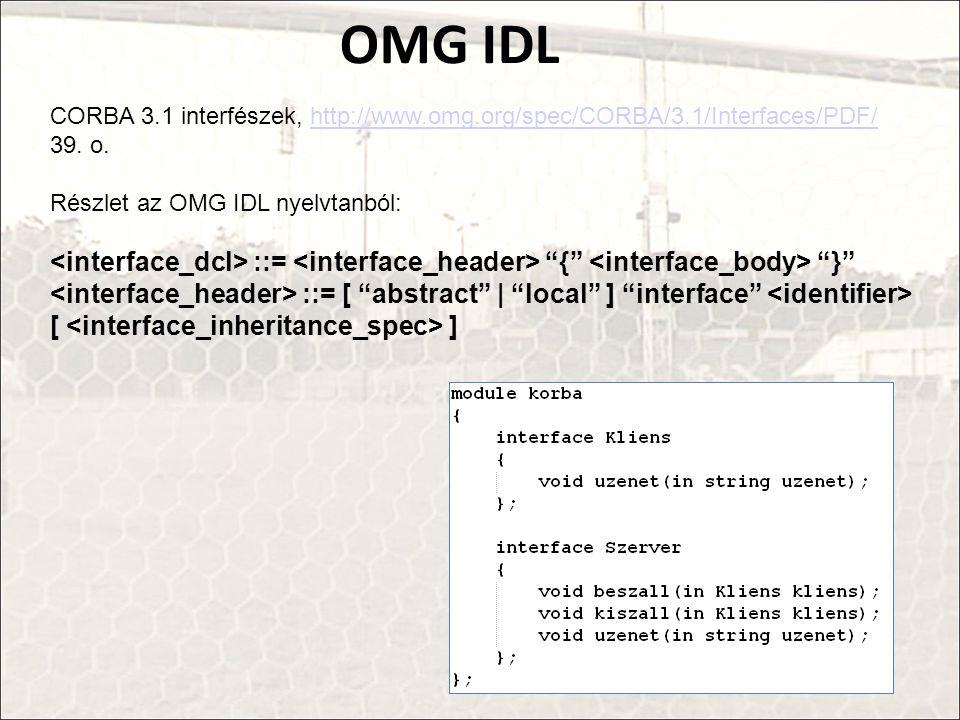 OMG IDL CORBA 3.1 interfészek, http://www.omg.org/spec/CORBA/3.1/Interfaces/PDF/ 39. o. Részlet az OMG IDL nyelvtanból: