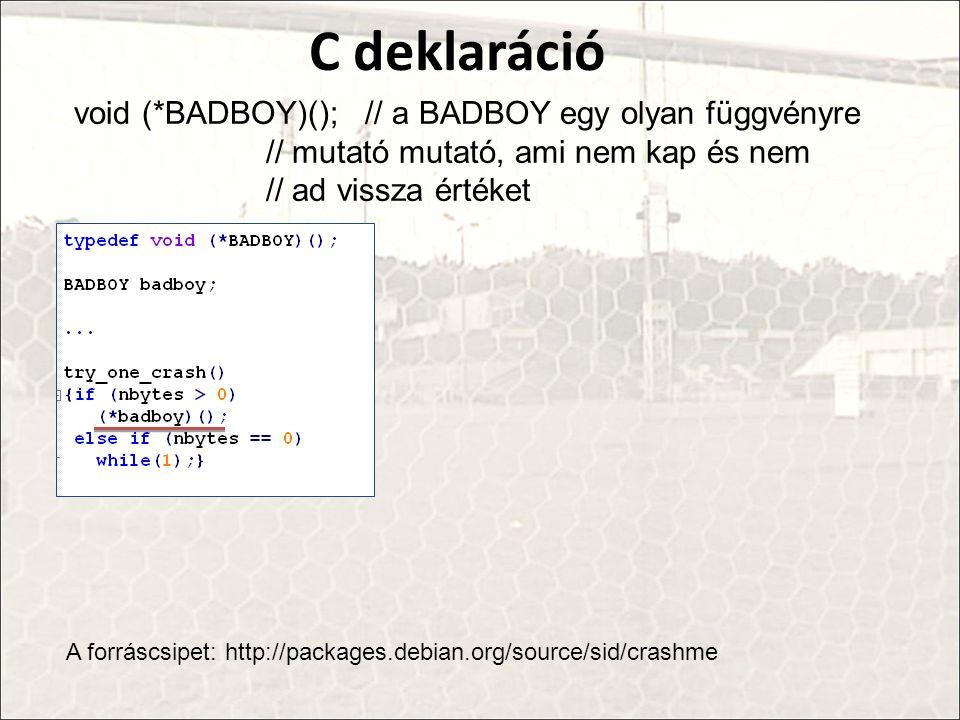 C deklaráció void (*BADBOY)(); // a BADBOY egy olyan függvényre // mutató mutató, ami nem kap és nem // ad vissza értéket.
